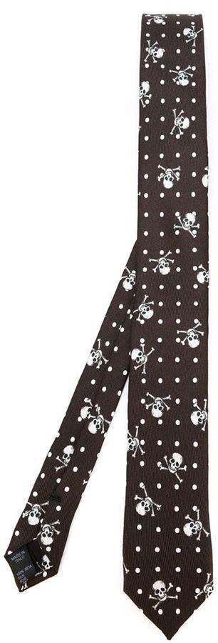 dunkelbraune gepunktete Krawatte von Dolce & Gabbana