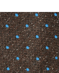 dunkelbraune gepunktete Seidekrawatte