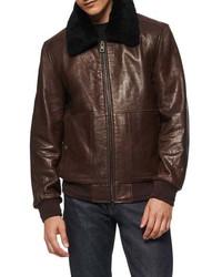 dunkelbraune Harrington-Jacke aus Leder