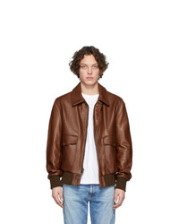 dunkelbraune Harrington-Jacke aus Leder von Schott