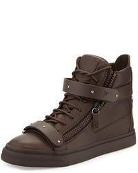 dunkelbraune hohe Sneakers aus Leder