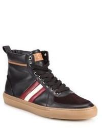 Dunkelbraune Hohe Sneakers aus Leder von Bally