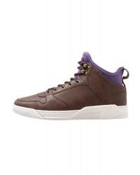dunkelbraune hohe Sneakers aus Leder von YOURTURN