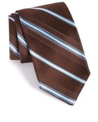 dunkelbraune horizontal gestreifte Krawatte