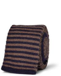dunkelbraune horizontal gestreifte Wollkrawatte