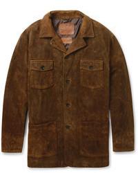 dunkelbraune Jacke mit einer Kentkragen und Knöpfen