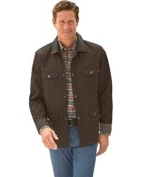 dunkelbraune Jacke mit einer Kentkragen und Knöpfen von Classic