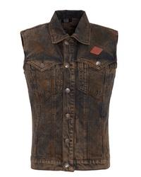 dunkelbraune Jeansweste von KINGKEROSIN