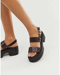 dunkelbraune klobige flache Sandalen aus Leder von ASOS DESIGN