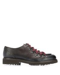 dunkelbraune klobige Leder Derby Schuhe