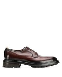 dunkelbraune klobige Leder Derby Schuhe von Officine Creative