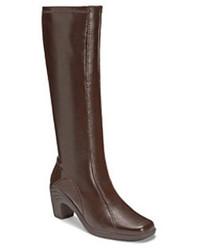 dunkelbraune kniehohe Stiefel aus Leder