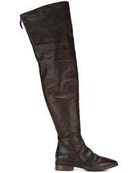 dunkelbraune kniehohe Stiefel aus Leder von Marsèll