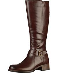 dunkelbraune kniehohe Stiefel aus Leder von Tamaris