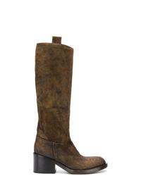 dunkelbraune kniehohe Stiefel aus Wildleder von Officine Creative