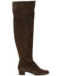 dunkelbraune kniehohe Stiefel aus Wildleder von P.A.R.O.S.H.
