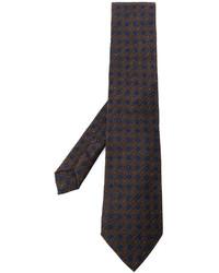 dunkelbraune Krawatte mit geometrischen Mustern