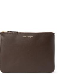 dunkelbraune Leder Clutch Handtasche