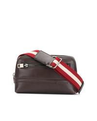 dunkelbraune Leder Clutch Handtasche von Bally