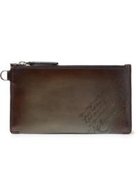 dunkelbraune Leder Clutch Handtasche von Berluti
