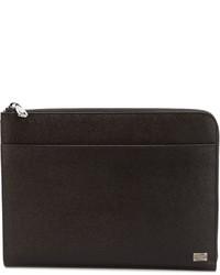dunkelbraune Leder Clutch Handtasche von Dolce & Gabbana