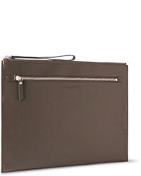 dunkelbraune Leder Clutch Handtasche von Maison Margiela