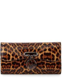 dunkelbraune Leder Clutch mit Leopardenmuster