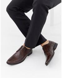 dunkelbraune Leder Derby Schuhe von ASOS DESIGN