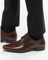 dunkelbraune Leder Derby Schuhe von Asos