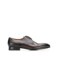dunkelbraune Leder Derby Schuhe von Santoni