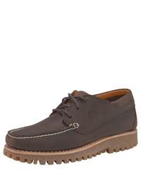 dunkelbraune Leder Derby Schuhe von Timberland