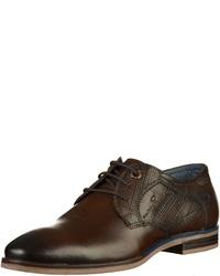 dunkelbraune Leder Derby Schuhe von Tom Tailor