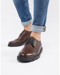 dunkelbraune Leder Derby Schuhe von WALK LONDON