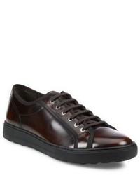 dunkelbraune Leder niedrige Sneakers