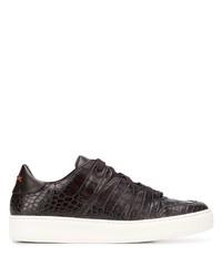 dunkelbraune Leder niedrige Sneakers von Ermenegildo Zegna XXX