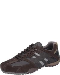 dunkelbraune Leder niedrige Sneakers von Geox