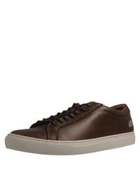 dunkelbraune Leder niedrige Sneakers von Lacoste