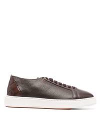 dunkelbraune Leder niedrige Sneakers von Santoni