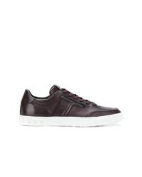 dunkelbraune Leder niedrige Sneakers von Tod's