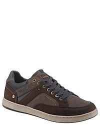 dunkelbraune Leder niedrige Sneakers von Wrangler