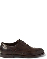 dunkelbraune Leder Oxford Schuhe von Bottega Veneta