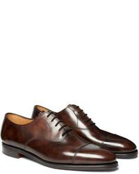 Dunkelbraune Leder Oxford Schuhe von John Lobb