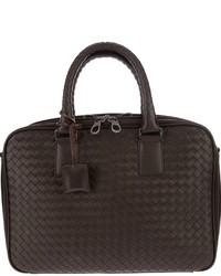 dunkelbraune Leder Reisetasche von Bottega Veneta