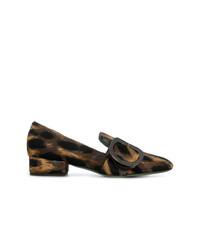 dunkelbraune Leder Slipper mit Leopardenmuster von Paola D'arcano