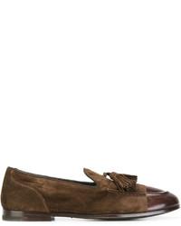 dunkelbraune Leder Slipper mit Quasten von Alberto Fasciani