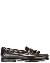dunkelbraune Leder Slipper mit Quasten von Silvano Sassetti