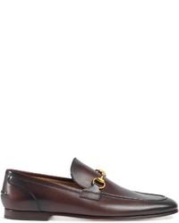 dunkelbraune Leder Slipper von Gucci