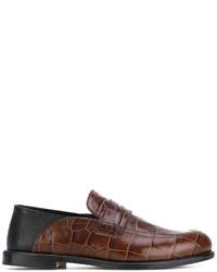 dunkelbraune Leder Slipper von Loewe
