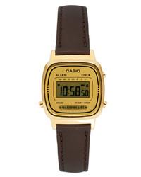dunkelbraune Leder Uhr von Casio