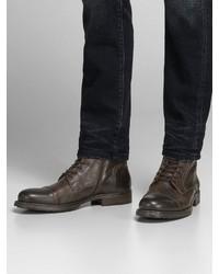 dunkelbraune Lederformelle stiefel von Jack & Jones